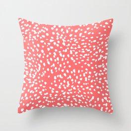 Claudia - abstract minimal coral dot polka dots painterly brushstrokes Throw Pillow