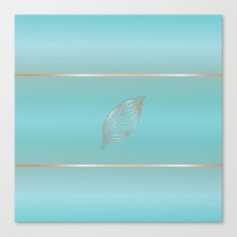 Rose Gold Feather Turquoise Canvas Print