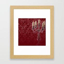 Red Damask Web Candelabra Framed Art Print