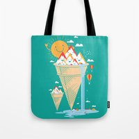island Tote Bags featuring mystery island by Steven Toang