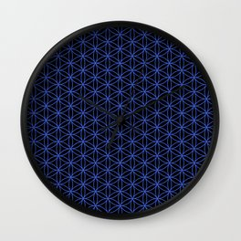 Flower of Life Pattern – Blue on Black Wall Clock