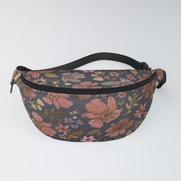 Red Polar Night Floral Fanny Pack