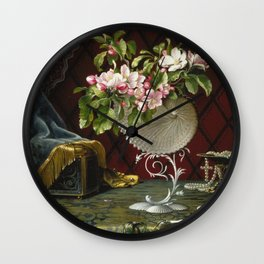 Martin Johnson Heade - Still Life With Apple Blossoms In A Nautilus Shell. Wall Clock