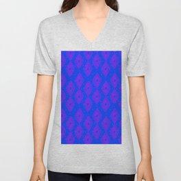 Mudcloth Dotty Diamonds in Neon Purple + Cobalt Unisex V-Neck
