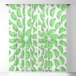 Orange Mandala | Green color palette Sheer Curtain