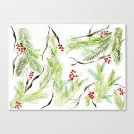 Winter Watercolor Branches Canvas Print