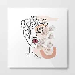 Head of Flowers Line Art, Flower Woman Printable, Flower Head One Line Art, Abstract Minimalist Metal Print