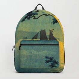 Tsuchiya Koitsu Maiko Seashore Japanese Woodblock Print Night Time Moon Over Ocean Sailboat Backpack