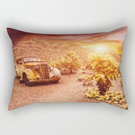 Old vintage car truck abandoned in the desert at the sunset Rectangular Pillow