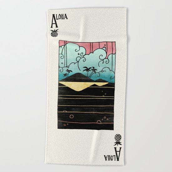 Ace of Aloha Beach Towel