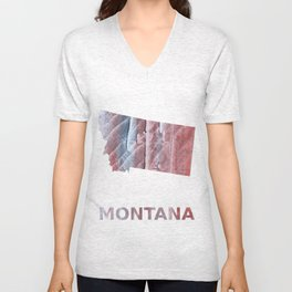 Montana map outline Red Gray Clouds watercolor Unisex V-Neck
