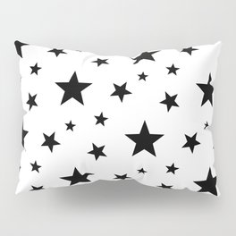 Stars pattern White and Black Pillow Sham