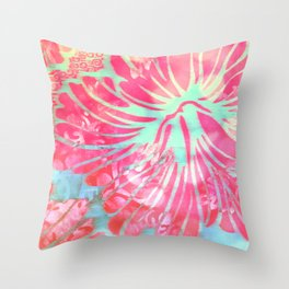 Blue Water Hibiscus Snowfall Throw Pillow