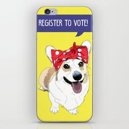 Political Pups - Register To Vote Corgi iPhone Skin