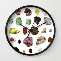 minerals Wall Clocks featuring Experiment 07: Rocks, minerals, gems by hollowwalls