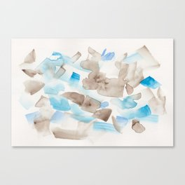 180714 Abstract Waterolour Blue Brown 21| Watercolor Brush Strokes Canvas Print