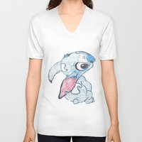 stitch V-neck T-shirts featuring Stitch by Art By JuJu