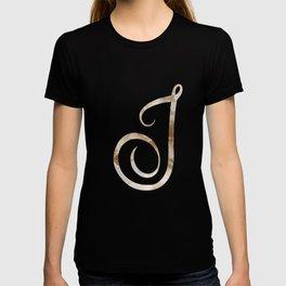 Rose Gold Marble Monogram Alphabet Letter J design T-shirt