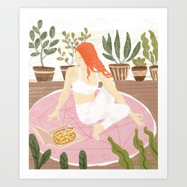 Yoga + Pizza Art Print
