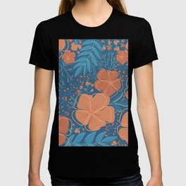 Tropical Flowers and Leaves Botanical in Terracotta Burnt Orange and Turquoise Teal Blue T-shirt