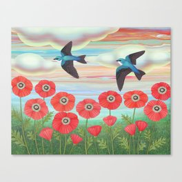 tree swallows and poppies Canvas Print