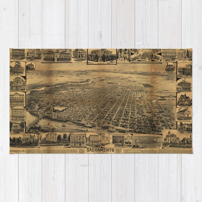 Aerial View of Sacramento, California (circa 1890) Rug