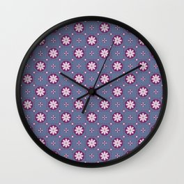Razzle Dazzle Flower Power Floral Seamless Pattern Wall Clock