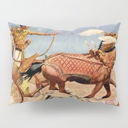 """Classical Masterpiece """"Egyptian King Tut on Chariot"""" by Herbert Herget Pillow Sham"""