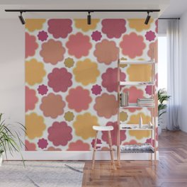 Flowers, Petals, Blossoms - Yellow Green Pink Wall Mural