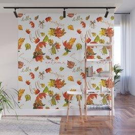 Autumn Leaves Hello Fall! Wall Mural