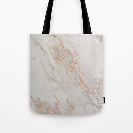 Marble - Rose Gold Marble Metallic Blush Pink Tote Bag