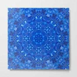 Blue watercolor kaleidoscope ornament Metal Print