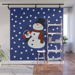 Cute Penguin Snowman Holiday Design Wall Mural