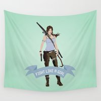 lara croft Wall Tapestries featuring Fight Like a Girl: Lara Croft by Dorothy Leigh