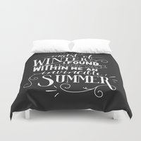 camus Duvet Covers featuring Albert Camus - In the Midst of Winter by Amber Serene