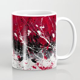 Groove In The Fire - Black and red abstract splash painting by Rasko Coffee Mug