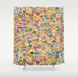 Emoticon pattern Shower Curtain