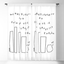 We Are Perfectly Enough Illustration One Line Drawing Humor Quotes Self-Love Mental Health Positive Blackout Curtain