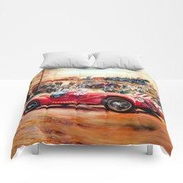 Retro racing car painting Comforters