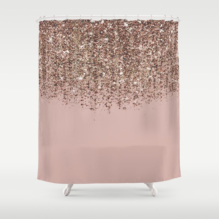 Blush Pink Rose Gold Bronze Cascading Glitter Shower Curtain By
