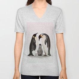 penguin family print Unisex V-Neck
