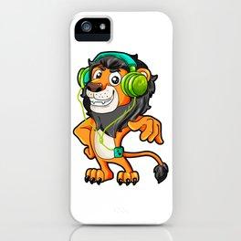 Lion listening to Music Headphones walkman gift iPhone Case