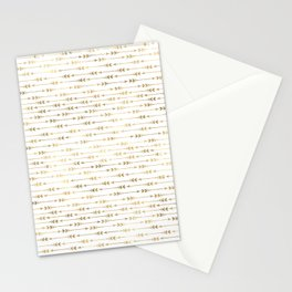 White & Gold Arrow Pattern Stationery Cards