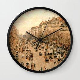 "Camille Pissarro ""Boulevard Montmartre à Paris"" Wall Clock"