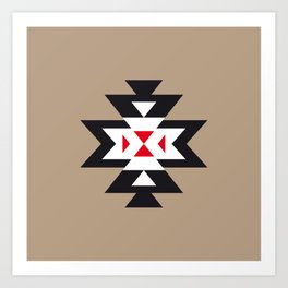 Navajo Aztec Pattern Black White Red on Light Brown Art Print