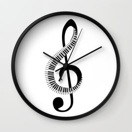 Treble clef sign with piano keyboard Wall Clock