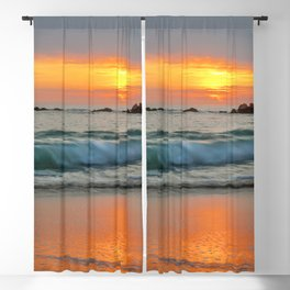 Golden sunset with turquoise waters Blackout Curtain