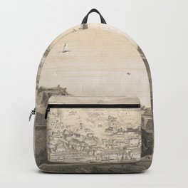 Vintage Pictorial Map of Genoa Italy (1850s) Backpack