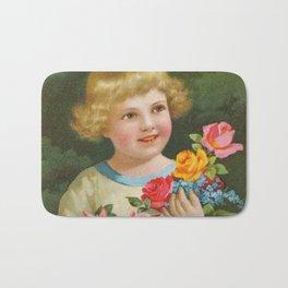 Child with roses   Kind mit Rosenstrauss Bath Mat