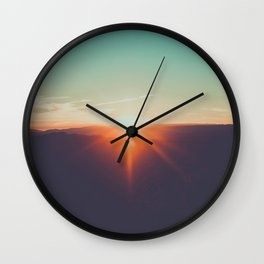 Pastel Turquoise & Orange Sunset With Mountain Landscape Silhouette Wall Clock